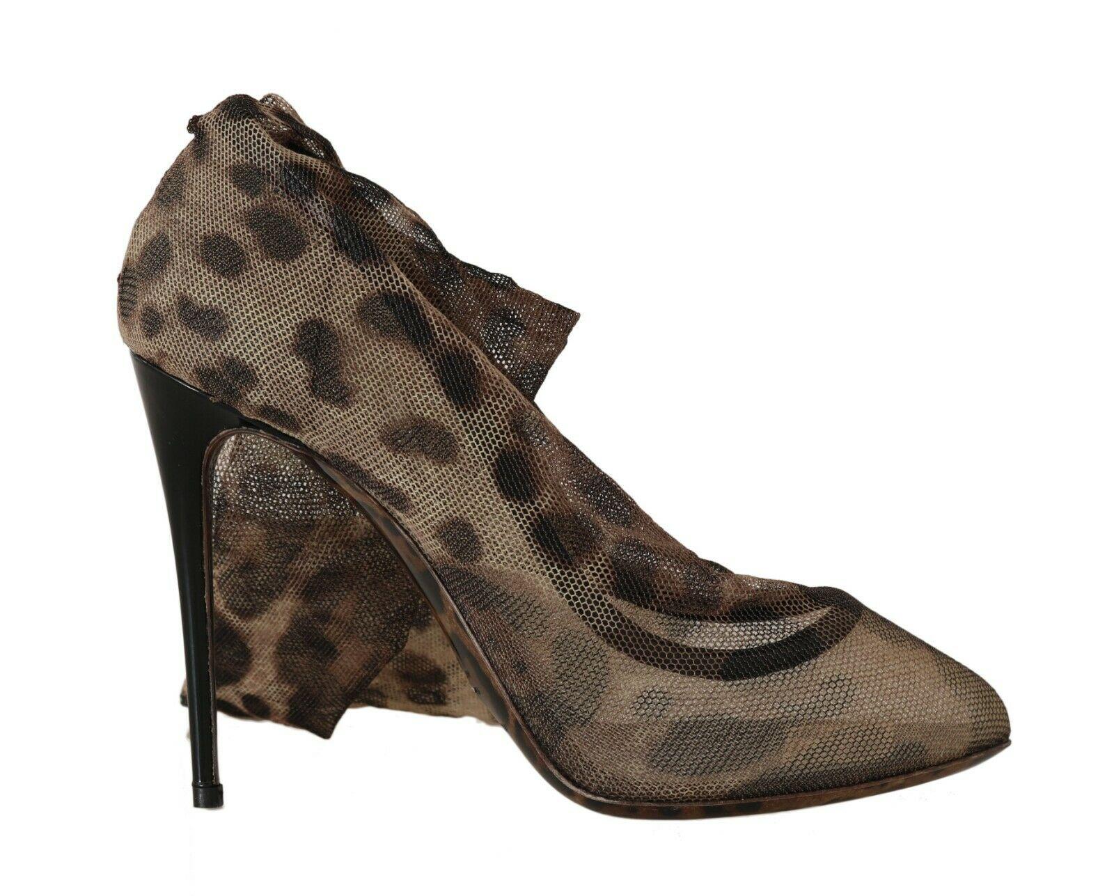 Dolce & Gabbana Women's Leopard Tulle Long Socks Pumps Shoes Brown LA6133 - EU38/US7.5
