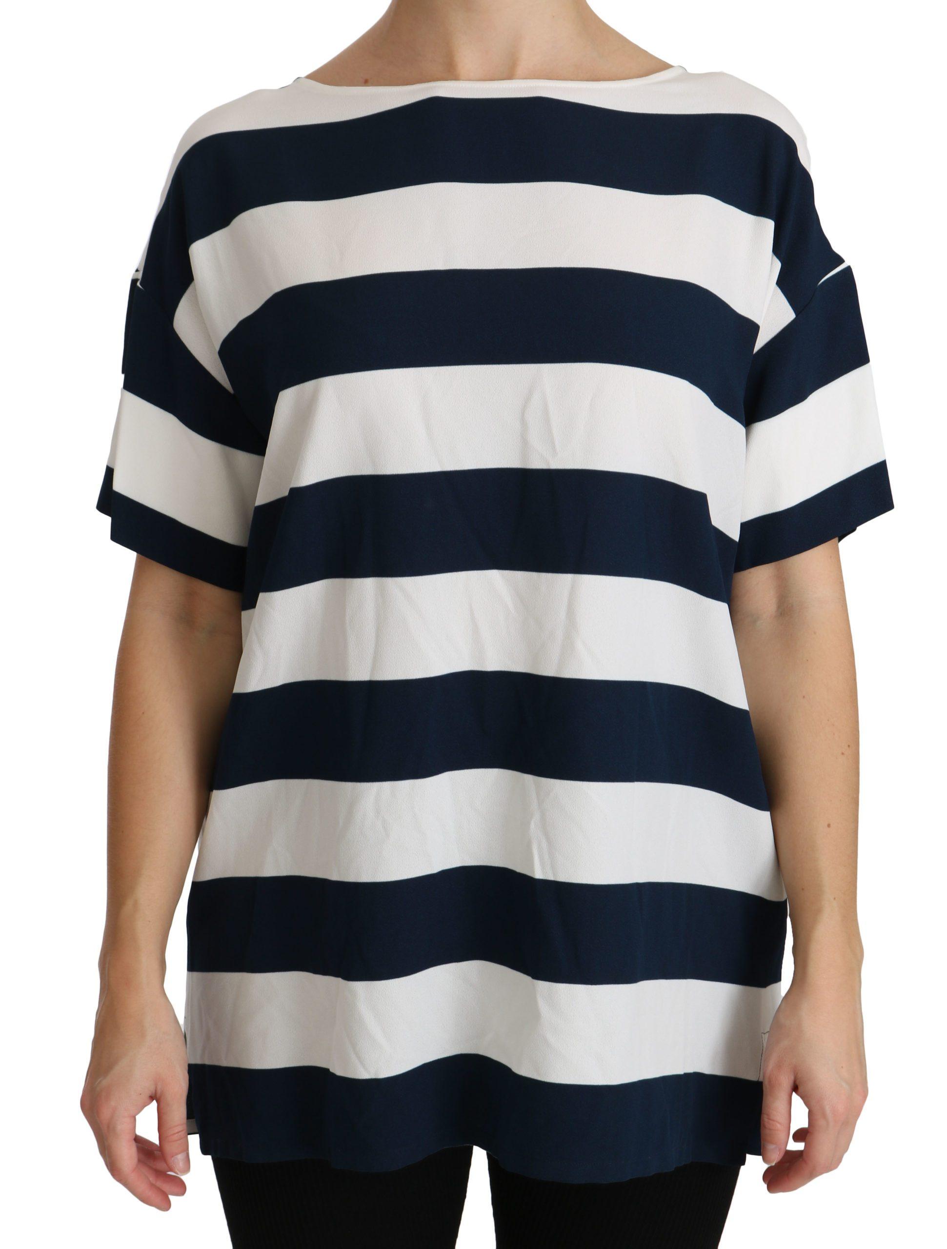 Dolce & Gabbana Women's Stripes Tops Blue/White TSH4312 - IT48|XXL