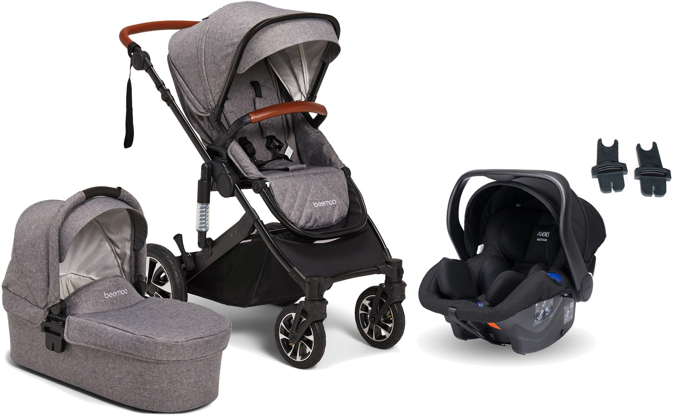 Beemoo Maxi 4 Yhdistelmävaunut Sis. Axkid Modukid Infant Turvakaukalo, Grey/Black