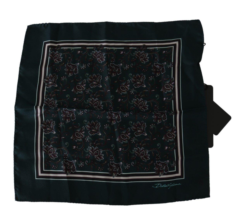 Dolce & Gabbana Men's Floral Handkerchief Silk Scarf Green MS5520