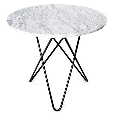 O Table Spisebord Svart/Hvit Marmor Ø100