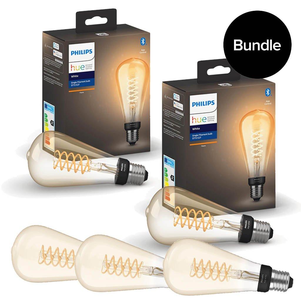 Philips Hue - 5x E27 Filament ST72 Edison - Warm White - Bluetooth - Bundle