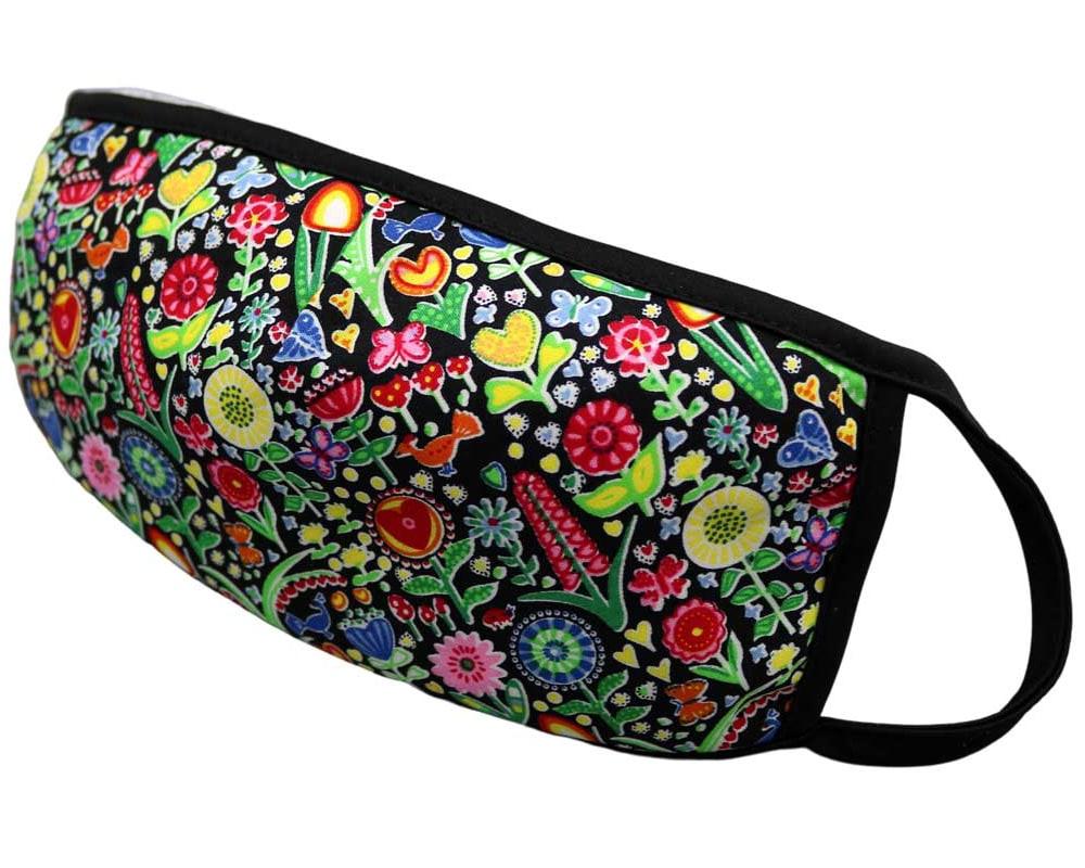 Bomull Ansiktsmask, Fargerike blomster, Svart, Flowers, Notch COLOURFUL FLOWERS