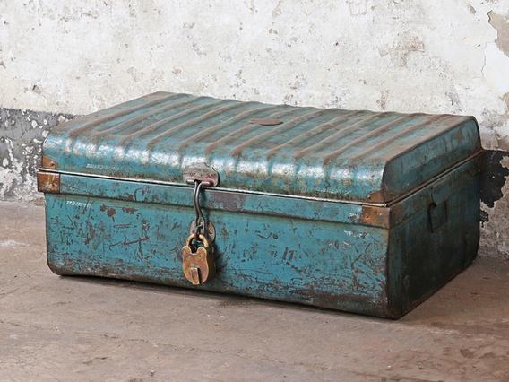 Vintage Metal Trunk Blue