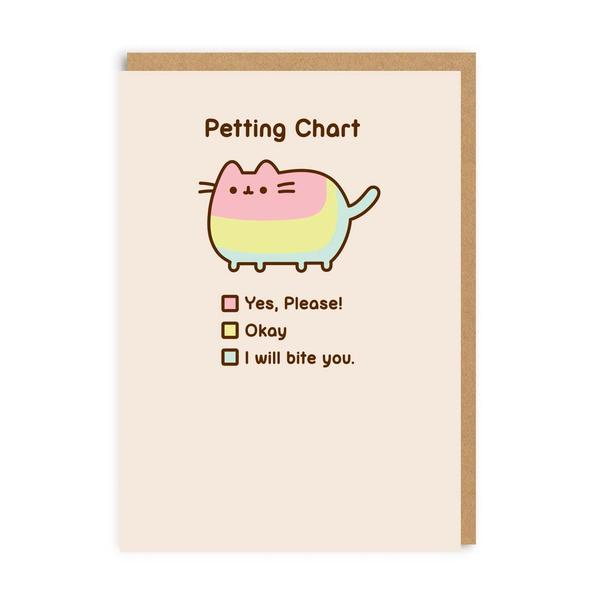 Pusheen Petting Chart Greeting Card
