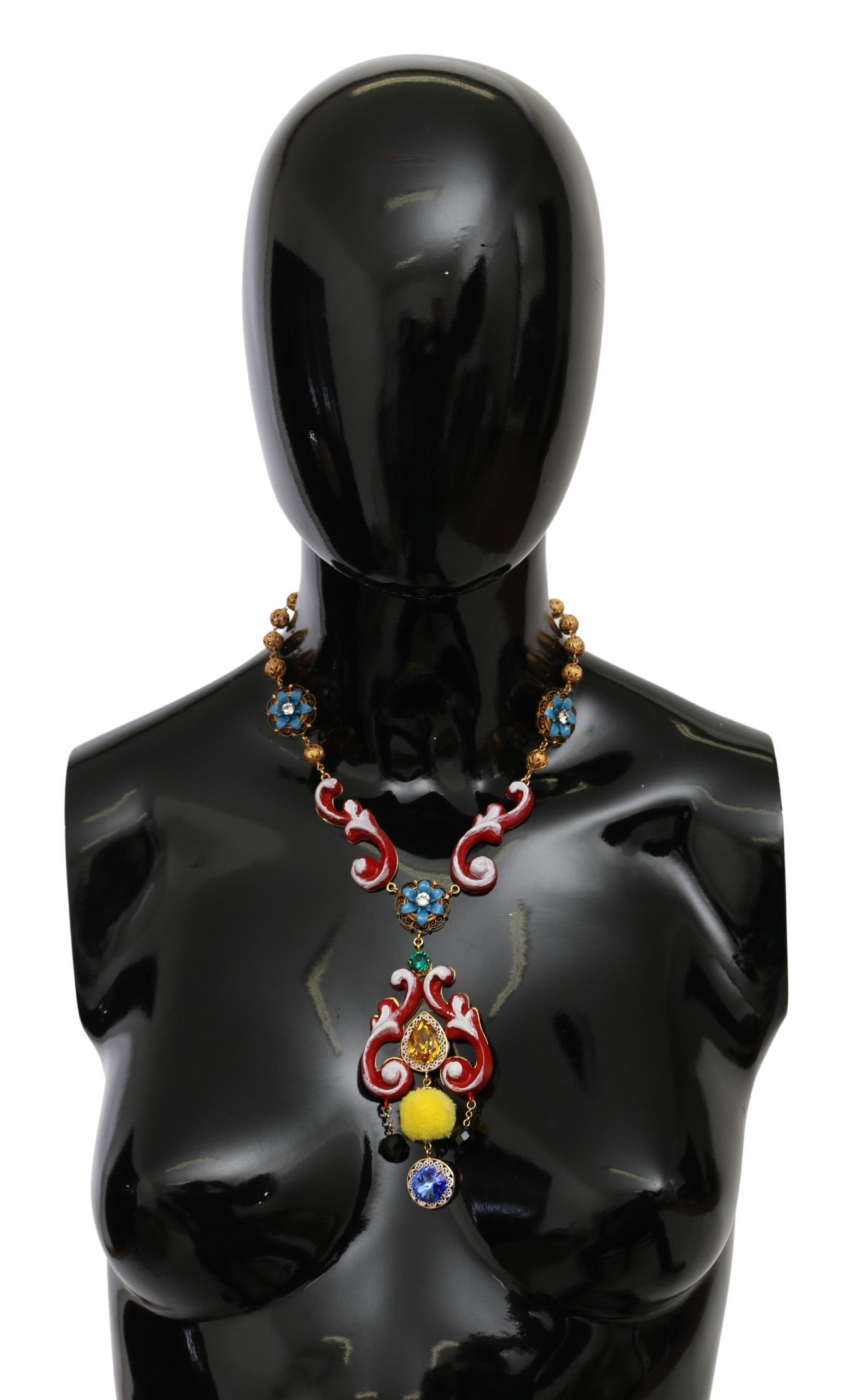 Dolce & Gabbana Women's CARRETTO Crystal Floral Necklace Gold SMY100149