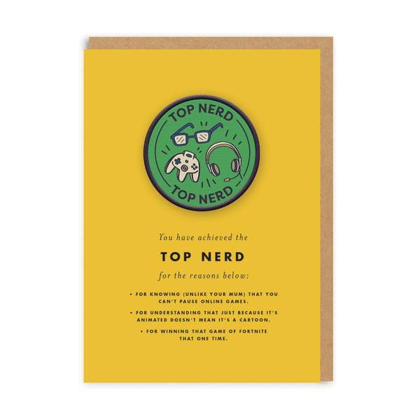 Top Nerd Woven Patch Greeting Card