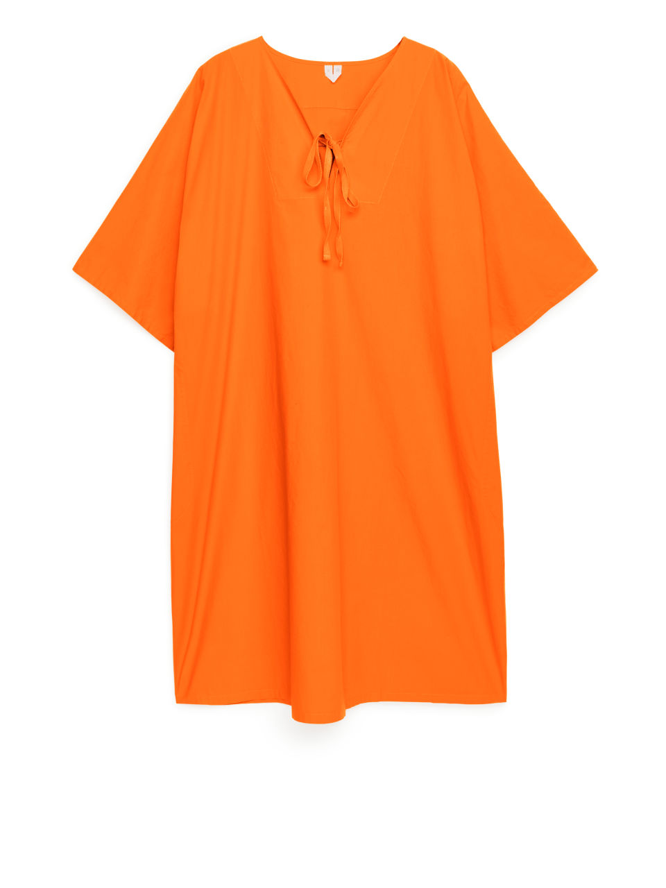Relaxed Cotton Tunic Dress - Orange