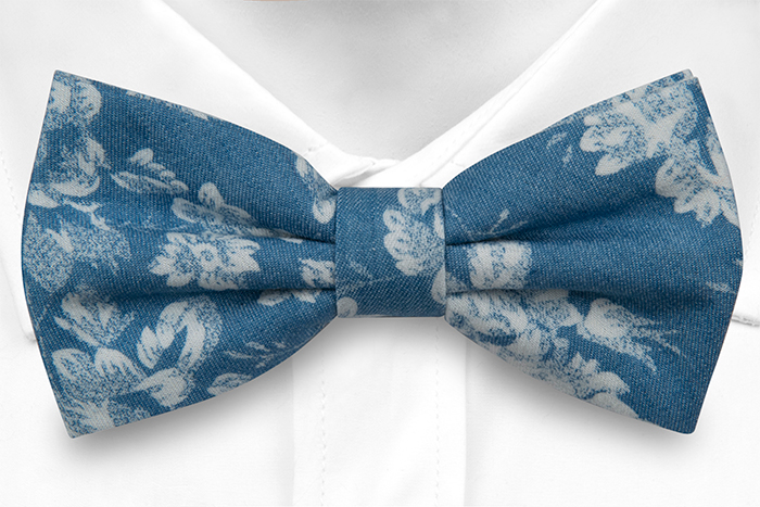 Bomull Sløyfer Knyttede, Blå denim med store hvite blomster, Blå, Blomster