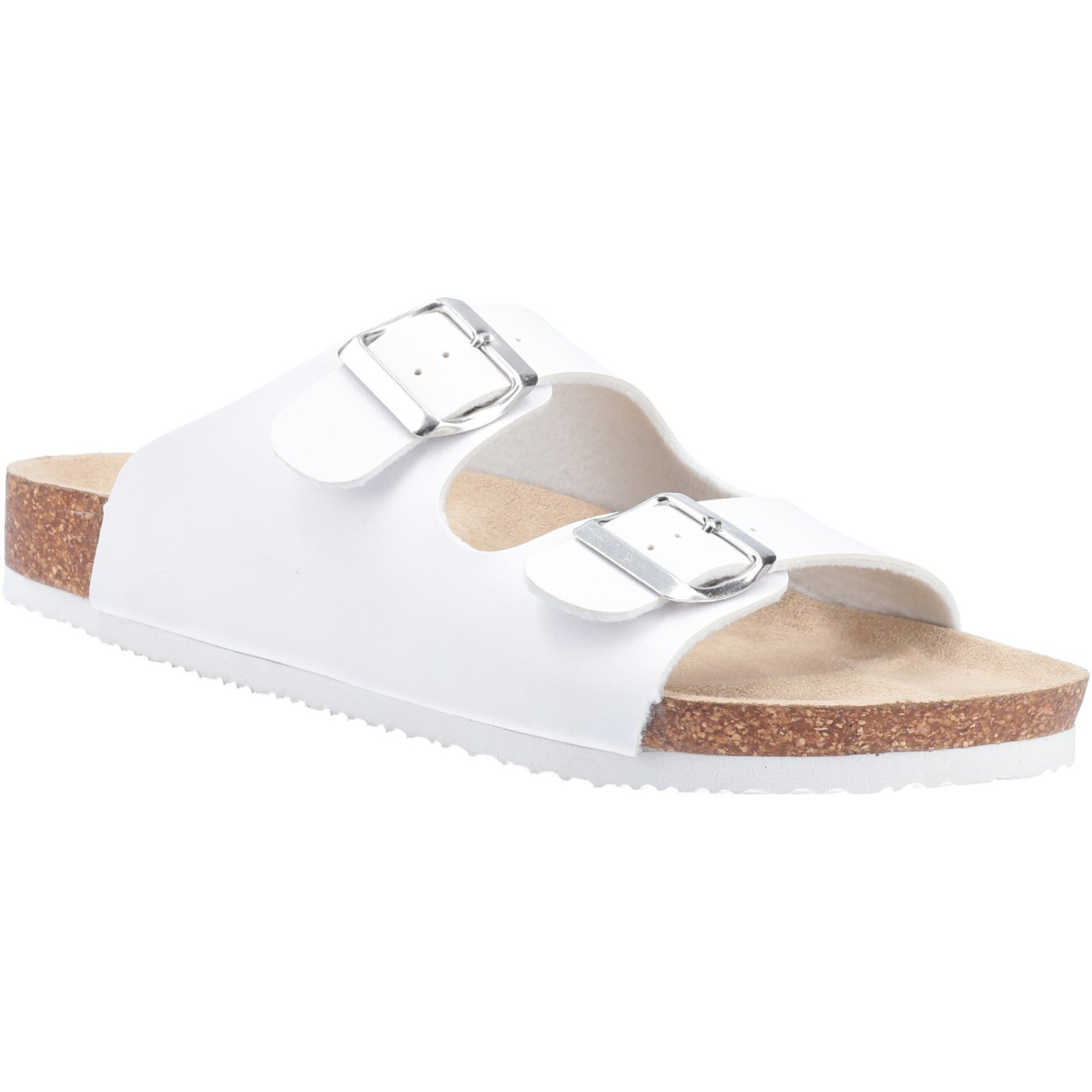 Divaz Women's Nimes Two Buckle Sandal Various Colours 31920 - White 3