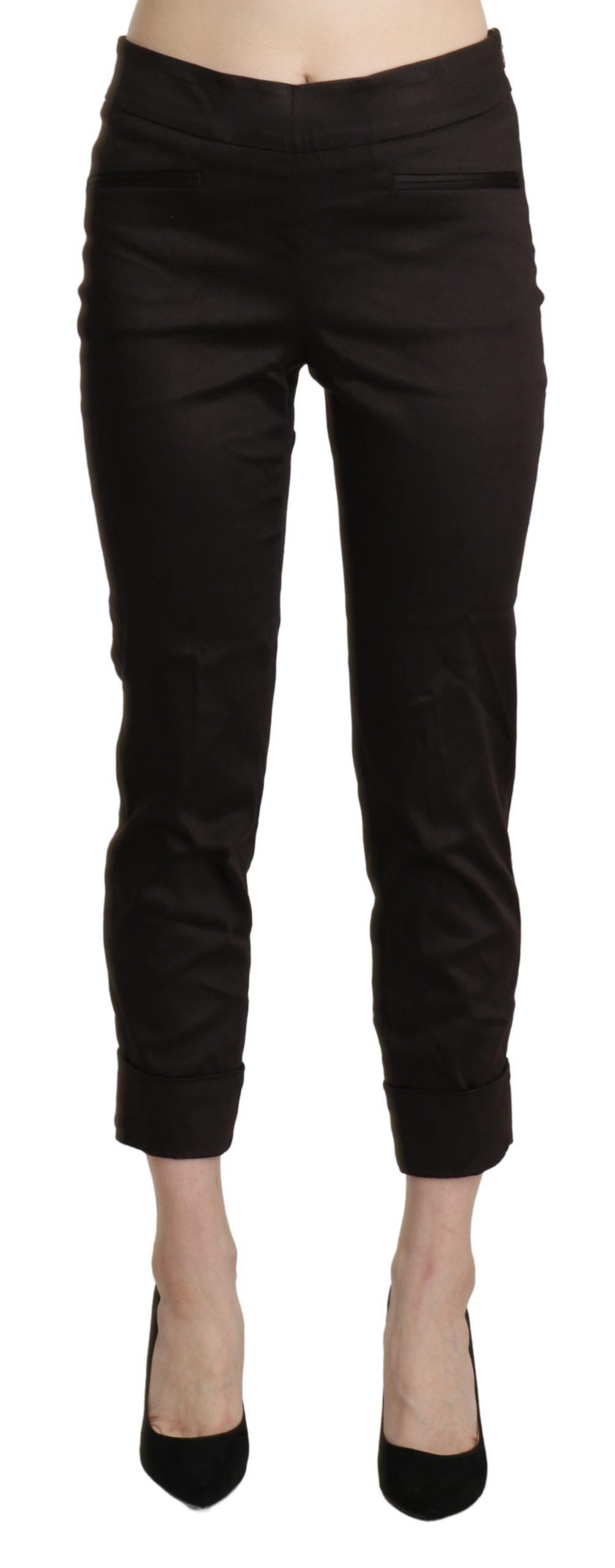 BENCIVENGA Women's Mid Waist Skinny Cropped Trousers Brown PAN71329-42 - IT42 M