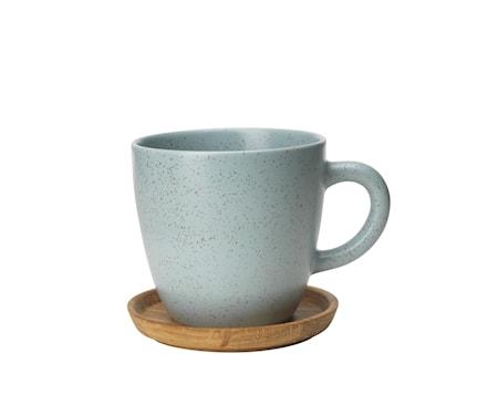 Höganäs Keramik Kaffemuggg 33 cl med träfat frost matt