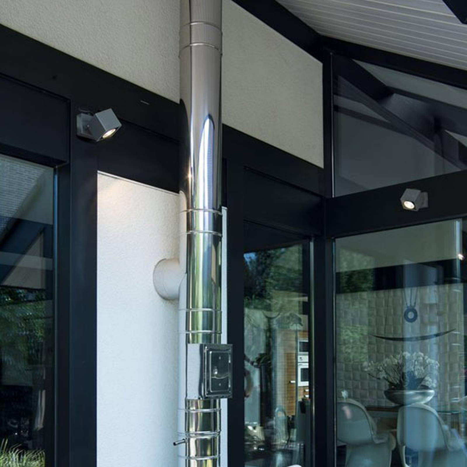 SLV Nautilus utendørs LED-veggspot, kantet, 10,5cm