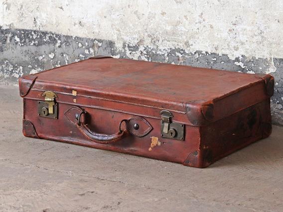 Brown Vintage Leather Suitcase Brown