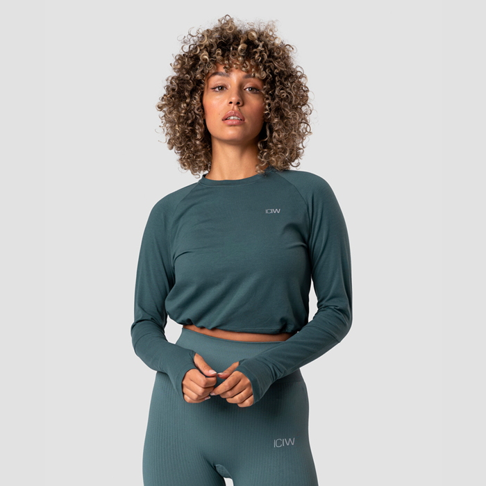 Define Cropped Adjustable Long Sleeve, Jungle Green
