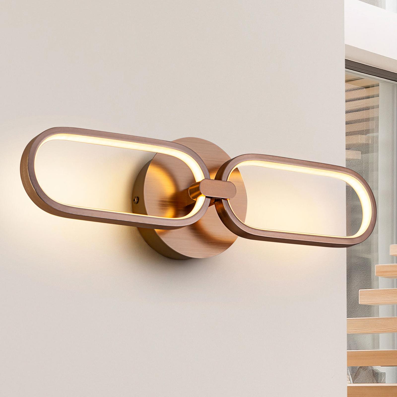 LED-seinävalaisin Colette 2-lamppuinen, ruusukulta