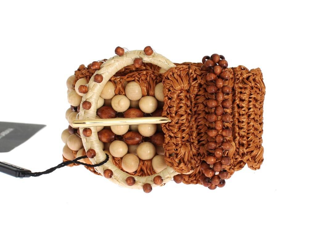 Dolce & Gabbana Women's Raffia Wood Beaded Wide Waist Belt Brown SIG32606 - 65 cm / 26 Inches