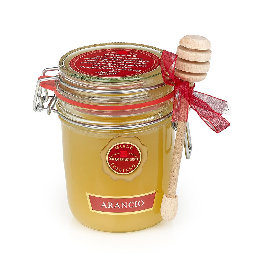 Orange Honey with Dipper 400g by Brezzo