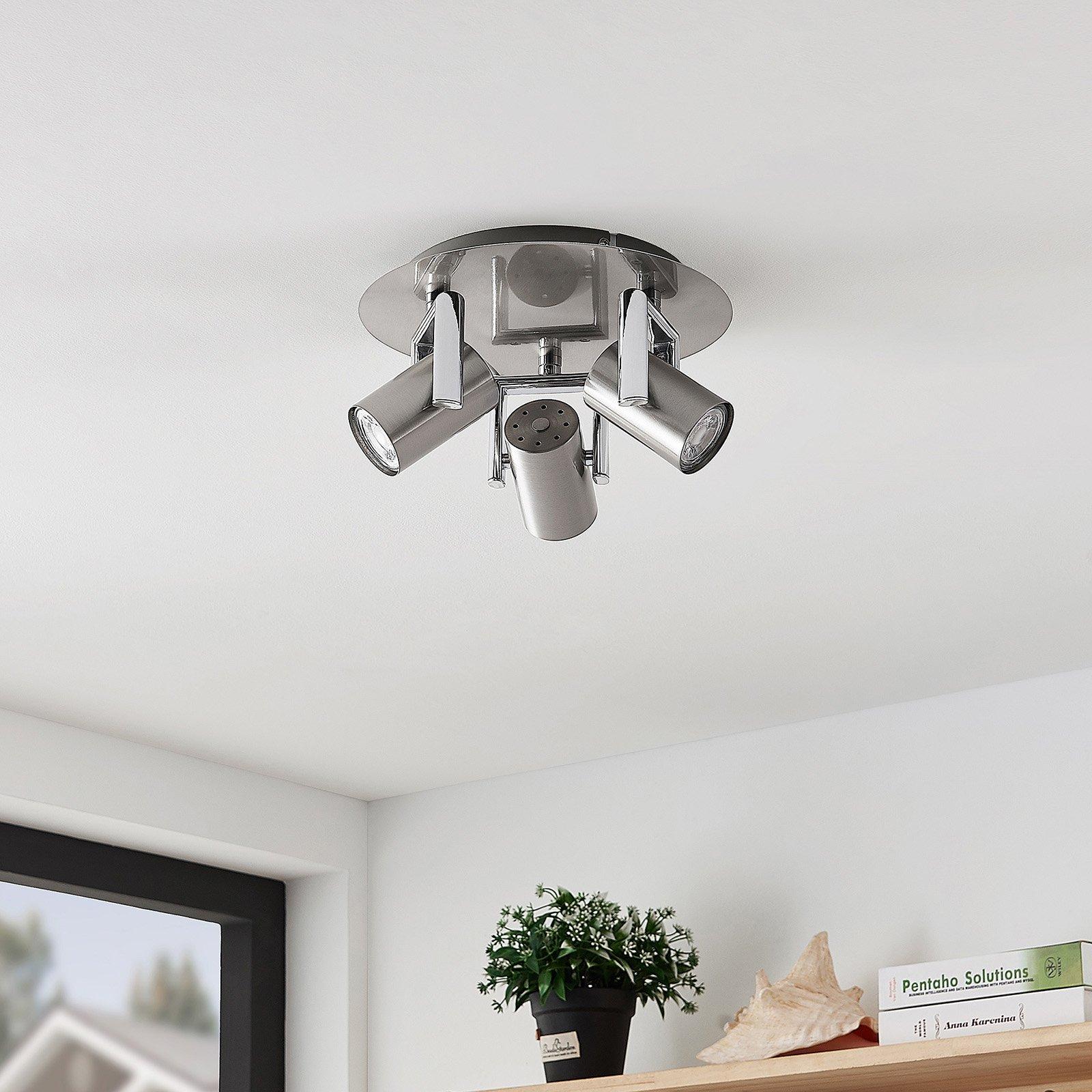 Lindby Reina taklampe, nikkel, 3 lyskilder, rund