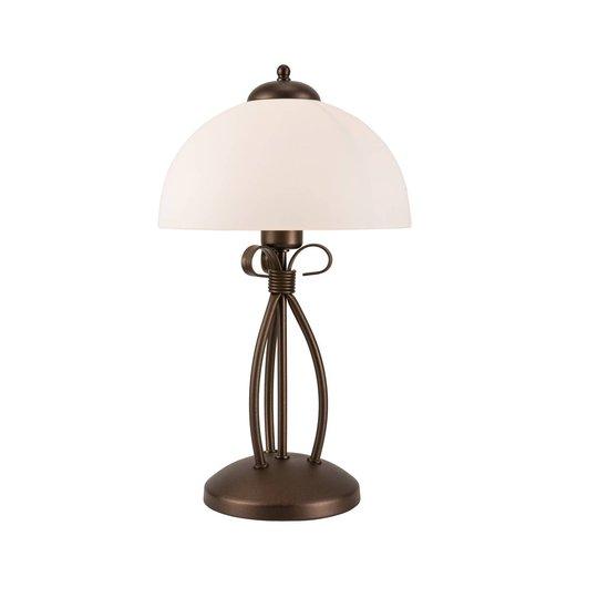 Bordlampe Adoro med glass-skjerm, brun