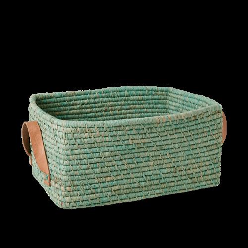 Rice - Raffia Rectangular Basket w. Leather Handle - Mint