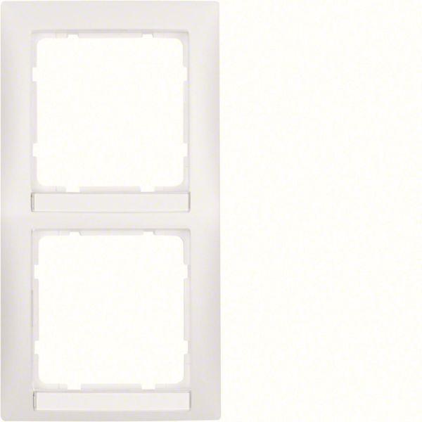 Hager 10129919 Yhdistelmäkehys etikettikentällä, valkoinen 2-paikkainen, S.1