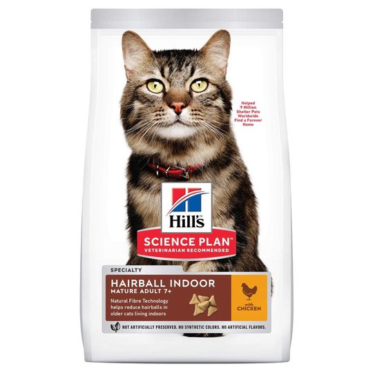 Hill's Science Plan Cat Mature Adult 7+ Hairball Indoor Chicken (1,5 kg)