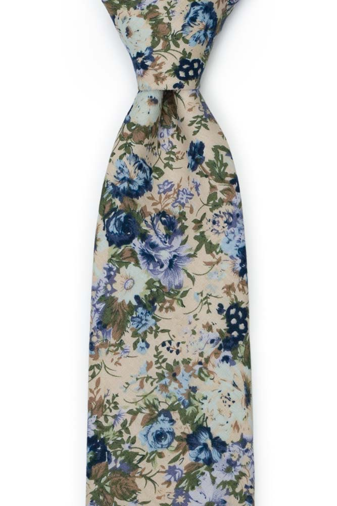 Bomull Slips, Blek lilla, marine, blått & brunt på champagne, Beige, Blomster
