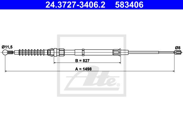 Käsijarruvaijeri ATE 24.3727-3406.2