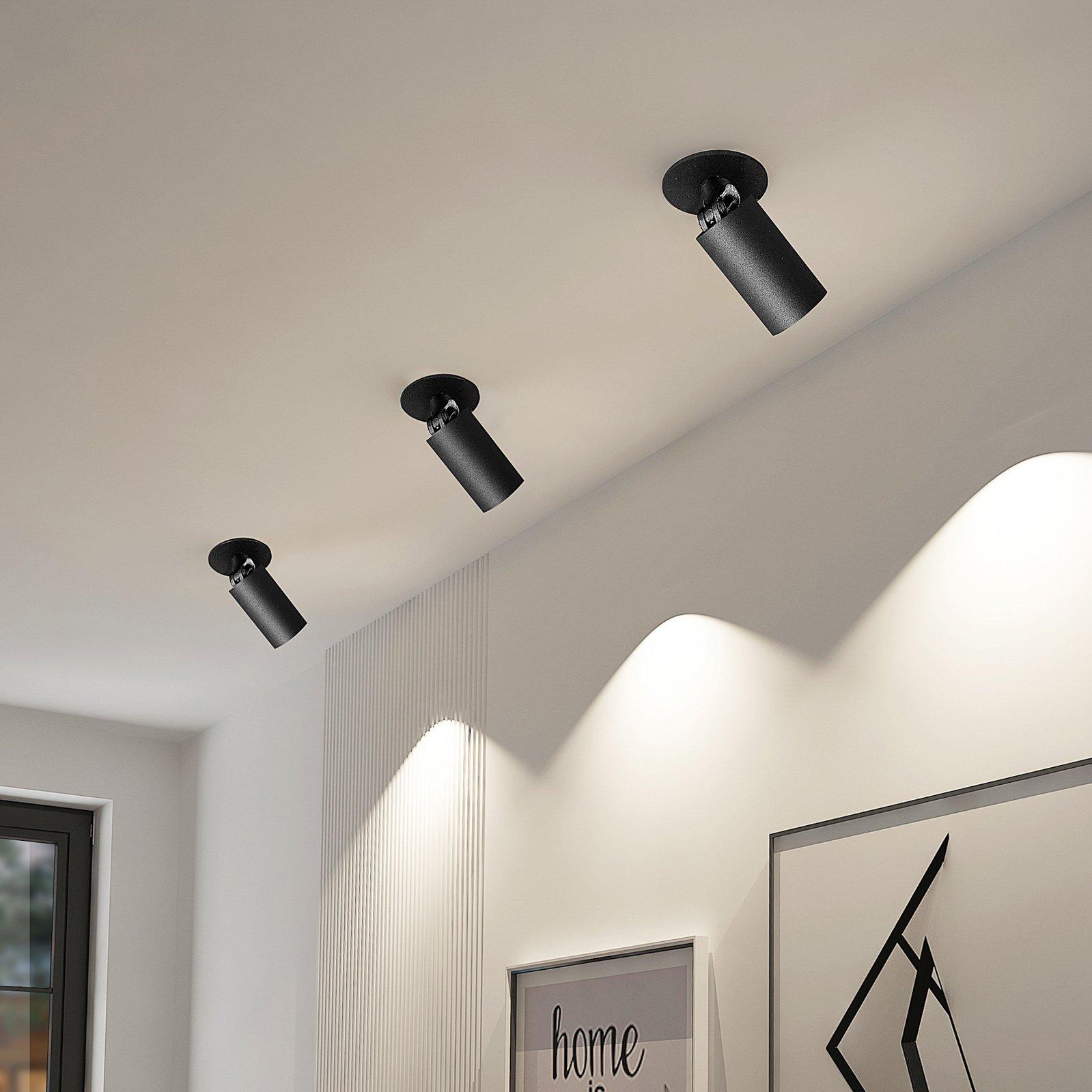 Arcchio Davin innfellingsspot, sylinder, svart
