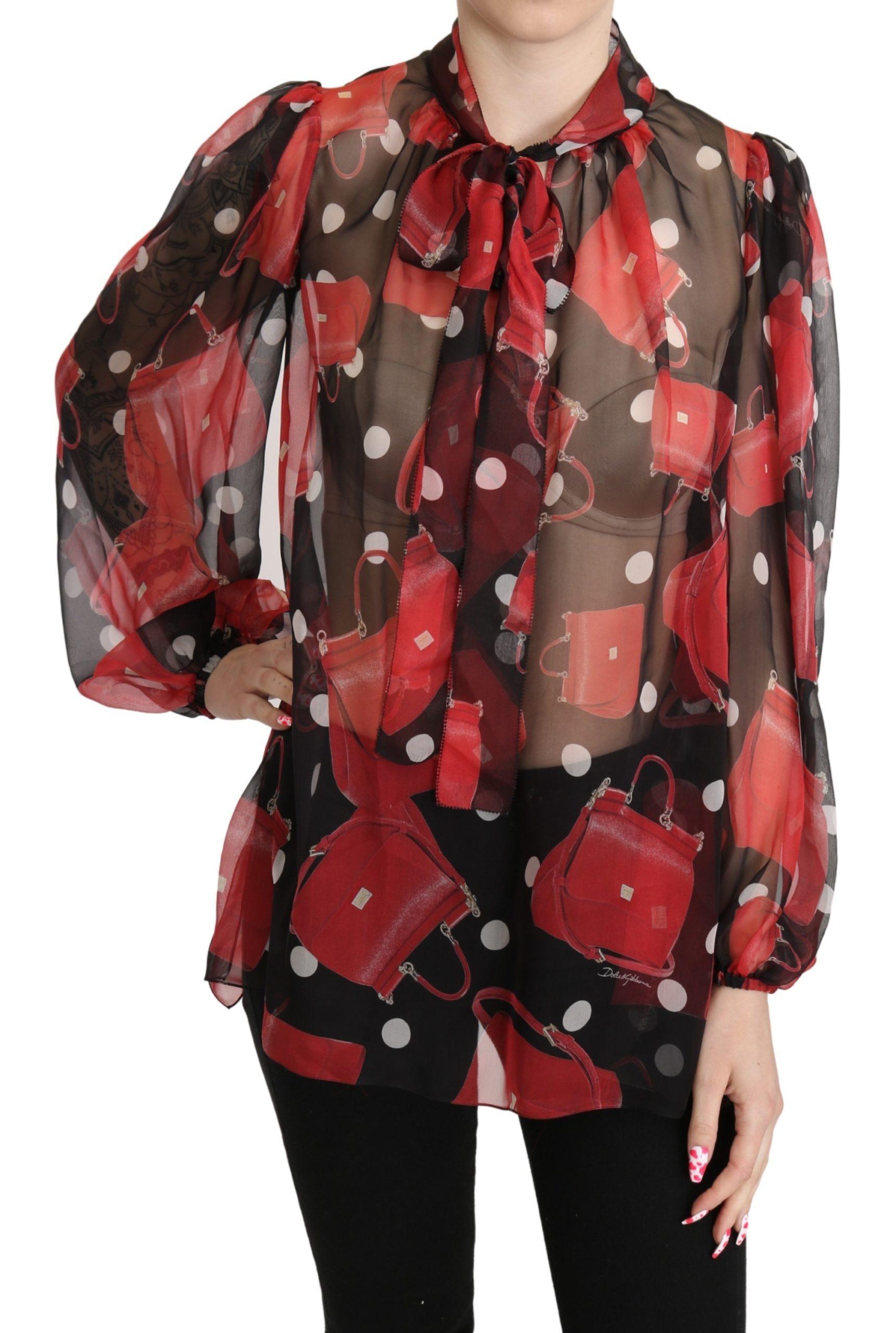 Dolce & Gabbana Women's Sheer Sicily Top Red TSH5255 - IT36 | XS
