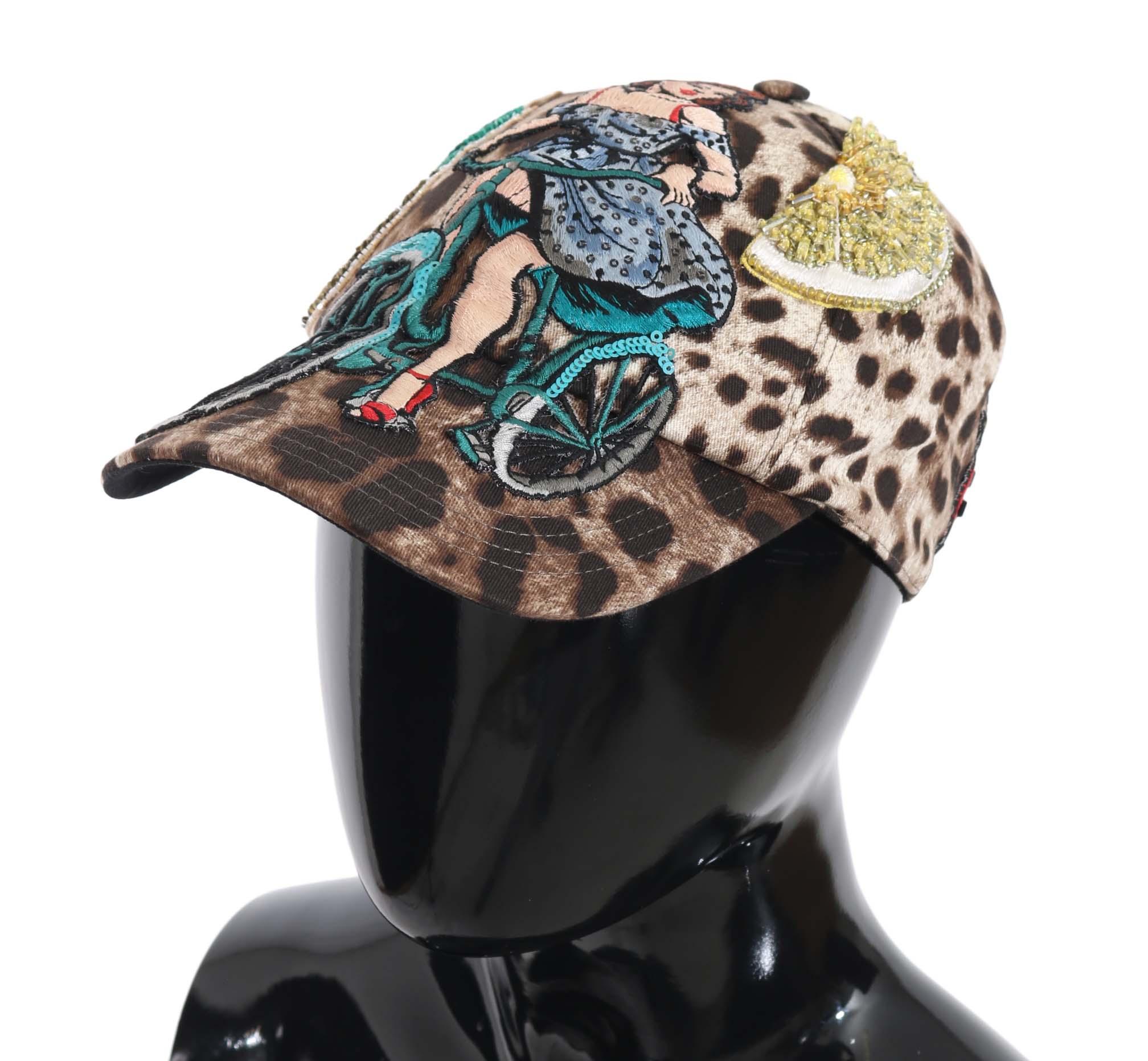 Dolce & Gabbana Women's Leopard Sequin Sicily Applique Baseball Hat Brown HAT70141 - 56 cm XS