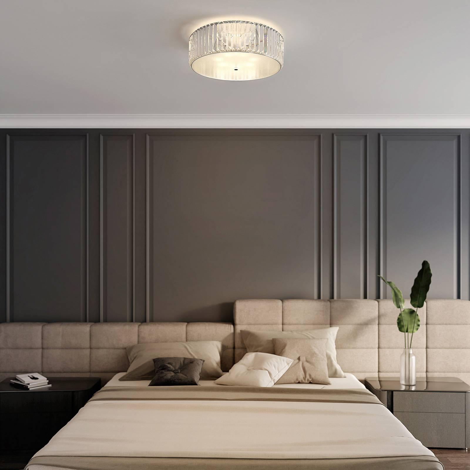 Lucande Alobani -LED-kattovalaisin, kristalli