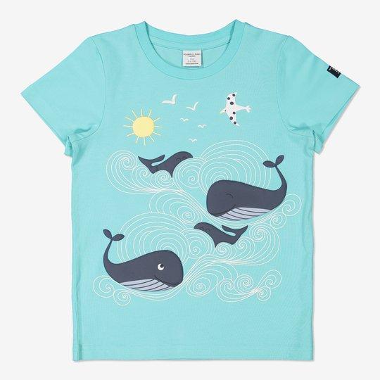 T-skjorte med trykk lysblå