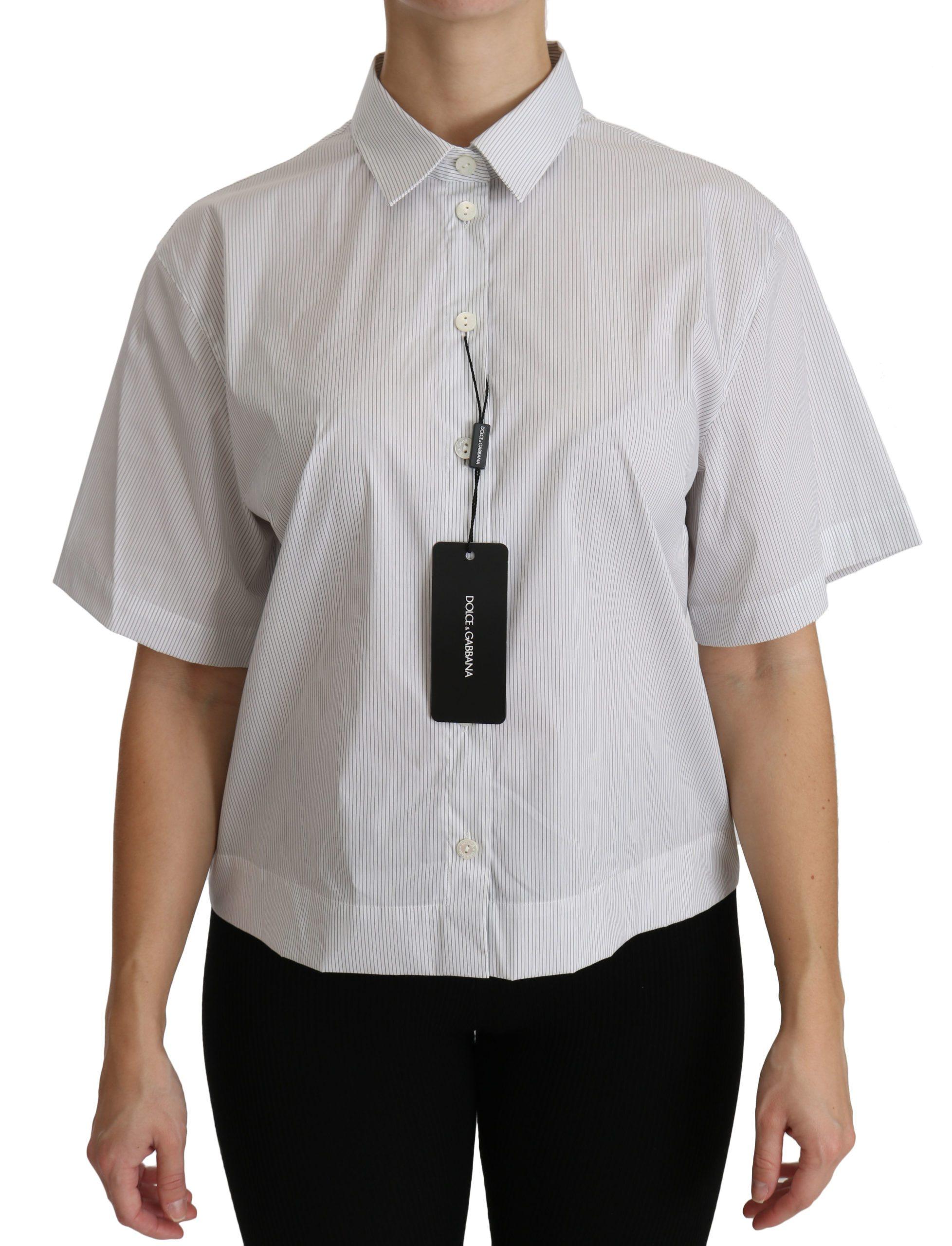 Dolce & Gabbana Women's SS Polo Top White TSH4314 - IT46 XL