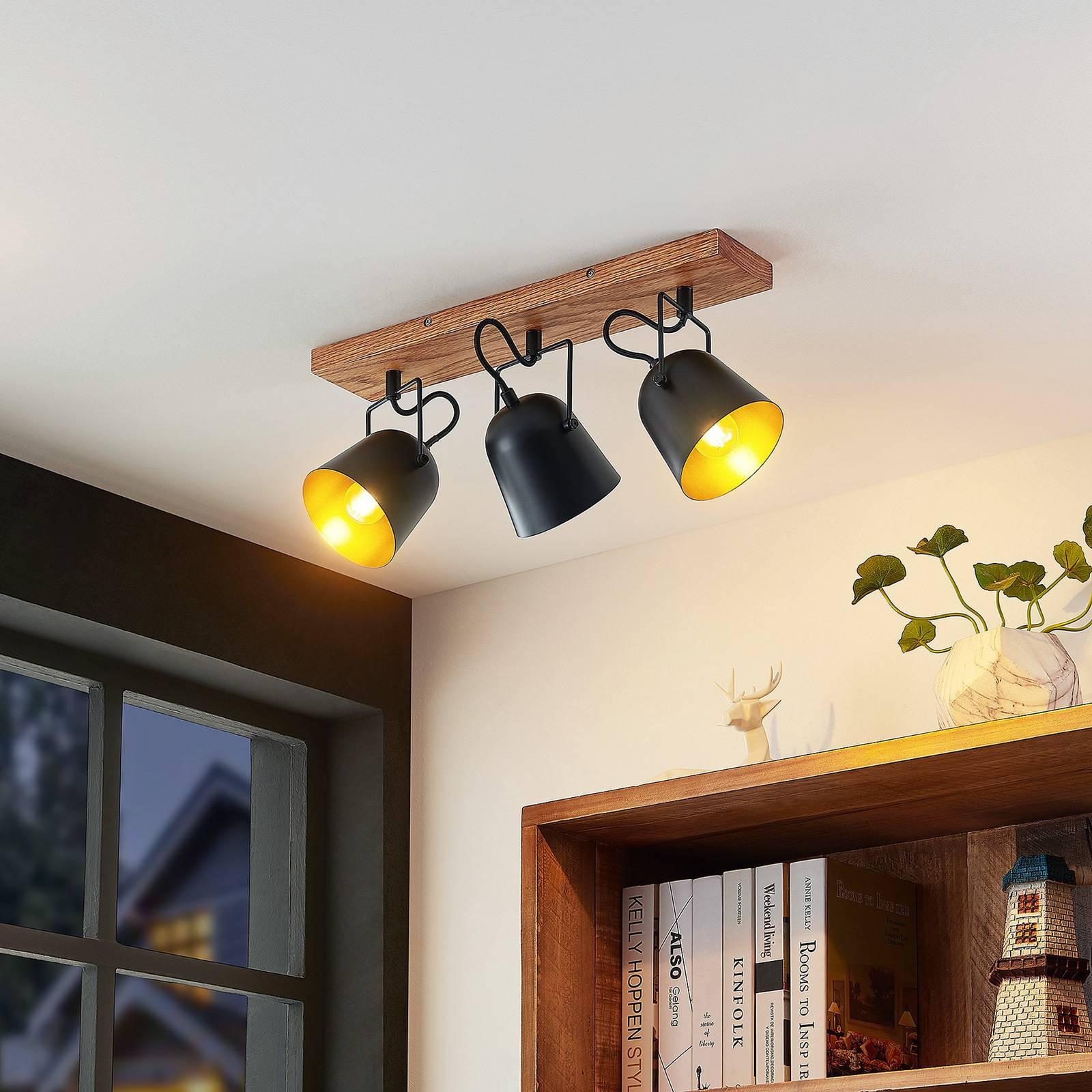 Lindby Adalin -kattovalaisin, 3-lamppuinen, musta