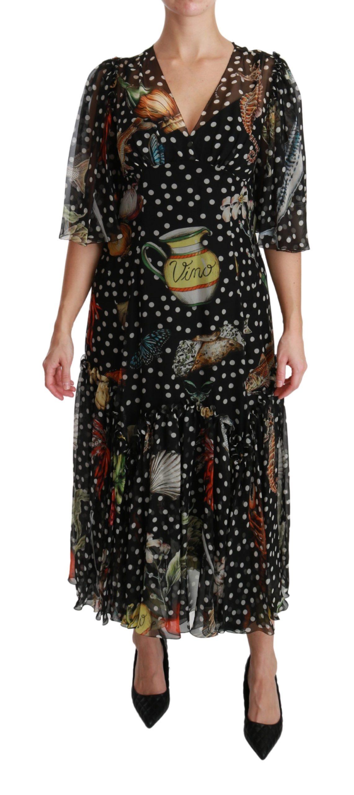 Dolce & Gabbana Women's Sea Fish Sicily A-line Shift Dress Black DR2540 - IT42|M