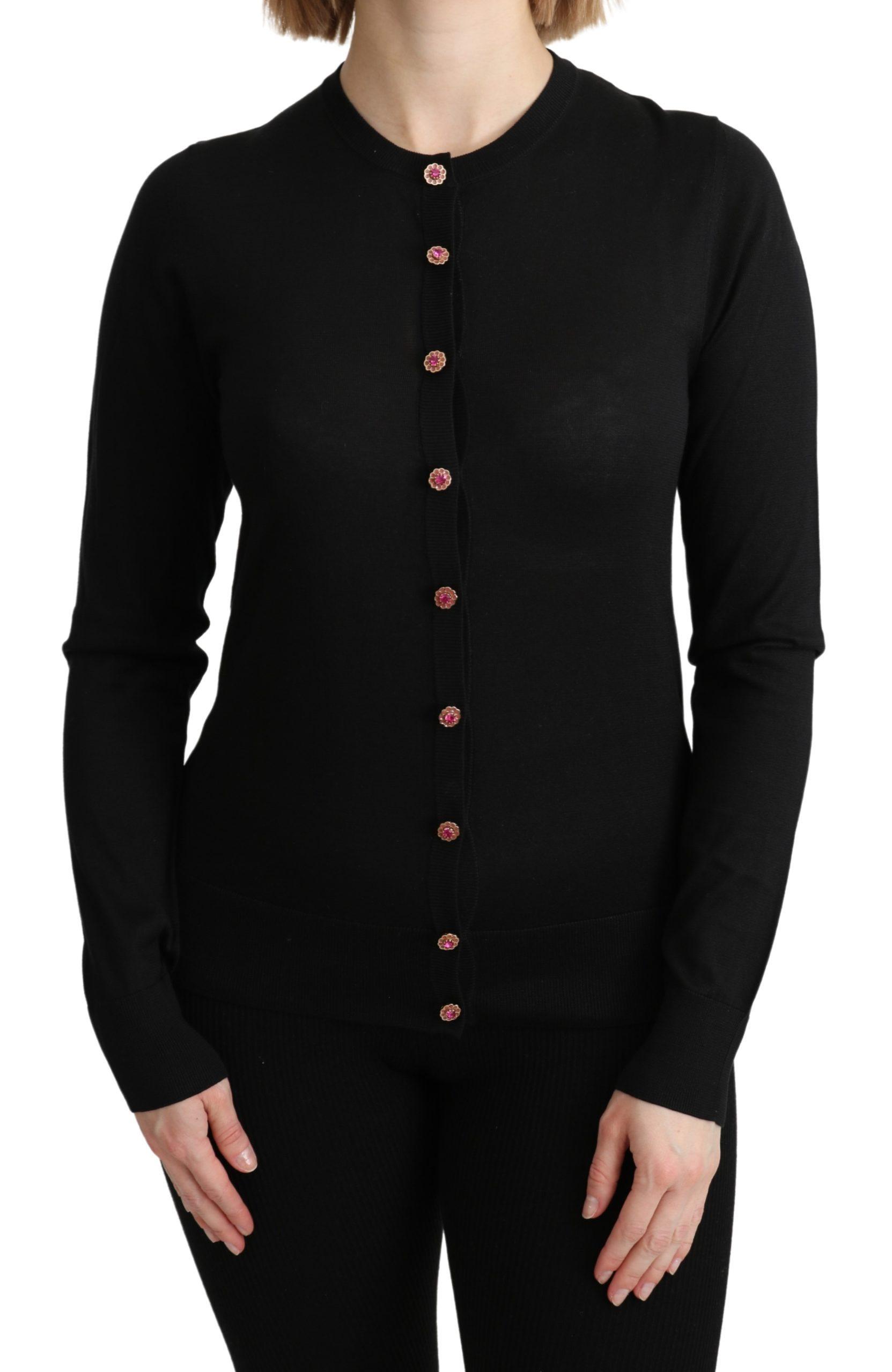 Dolce & Gabbana Women's Silk LS Cardigan Black TSH4809 - IT40|S