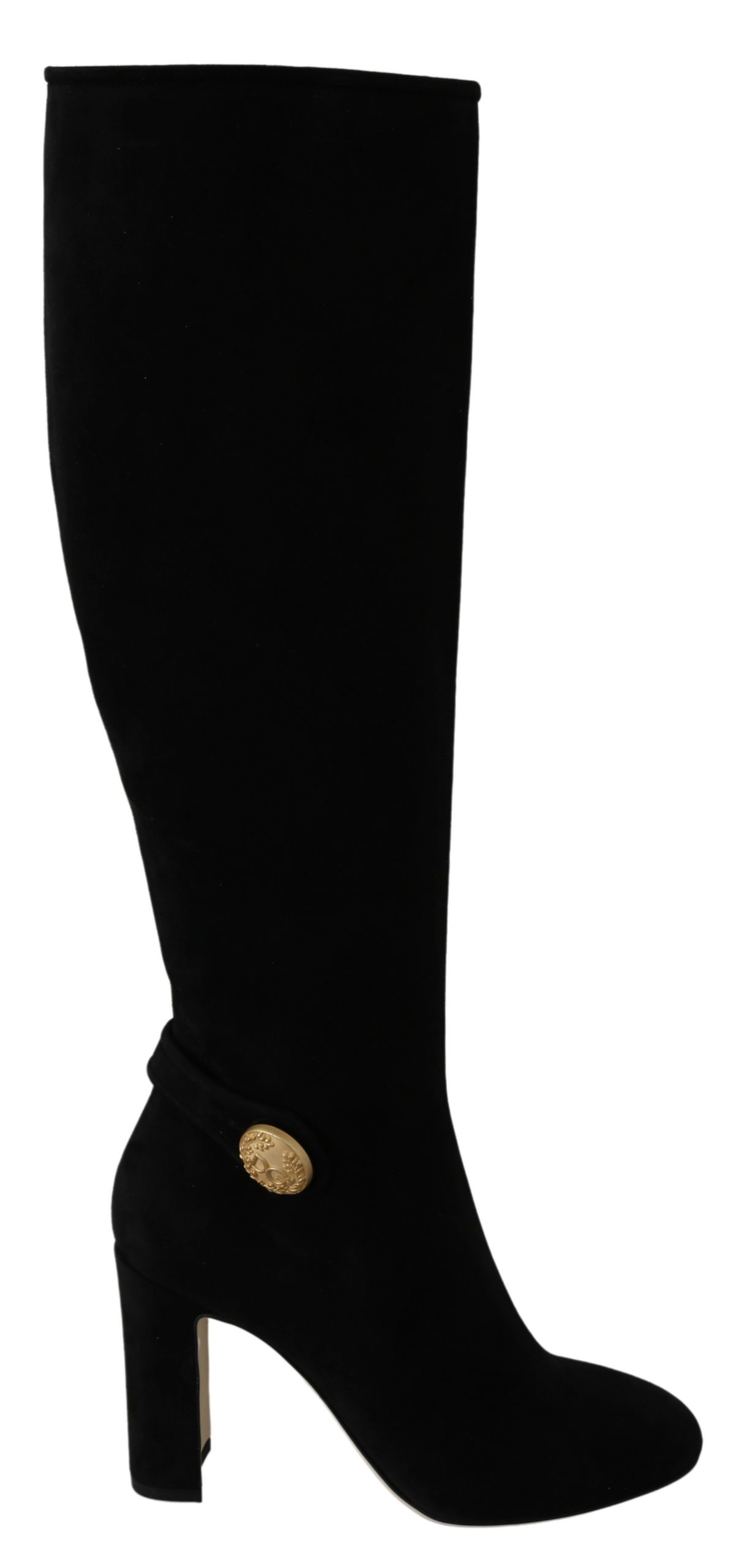 Dolce & Gabbana Women's Suede Logo Knee Boots Black LA6400 - EU38/US7.5