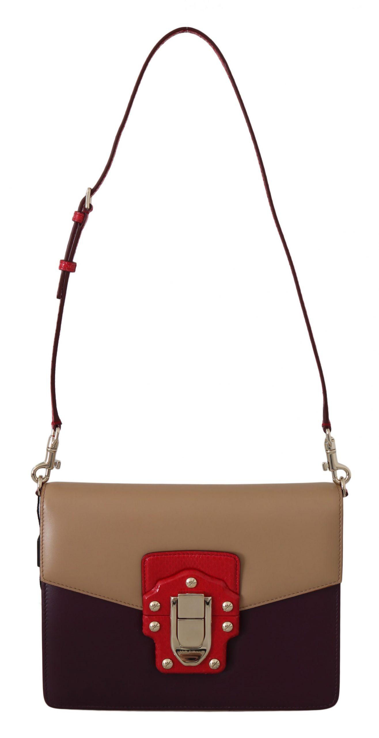 Dolce & Gabbana Women's LUCIA Leather Shoulder Bag Beige VA1022