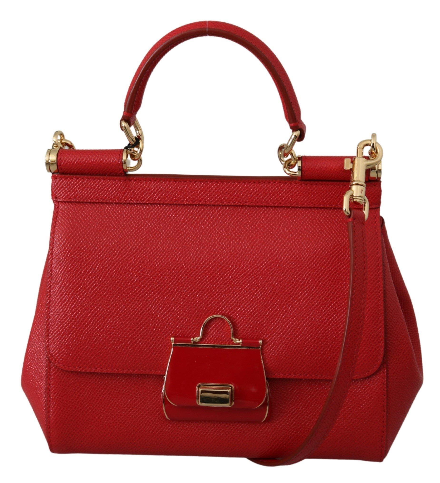 Dolce & Gabbana Women's SICILY Leather Shoulder Bag Red VAS9951