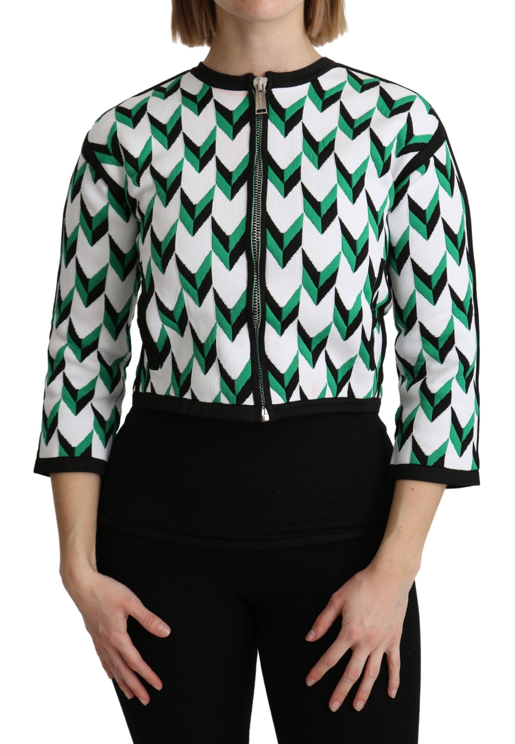 Dsquared² Women's Sleeve Cotton Full Zipper Sweater Black/White TSH5187 - XS