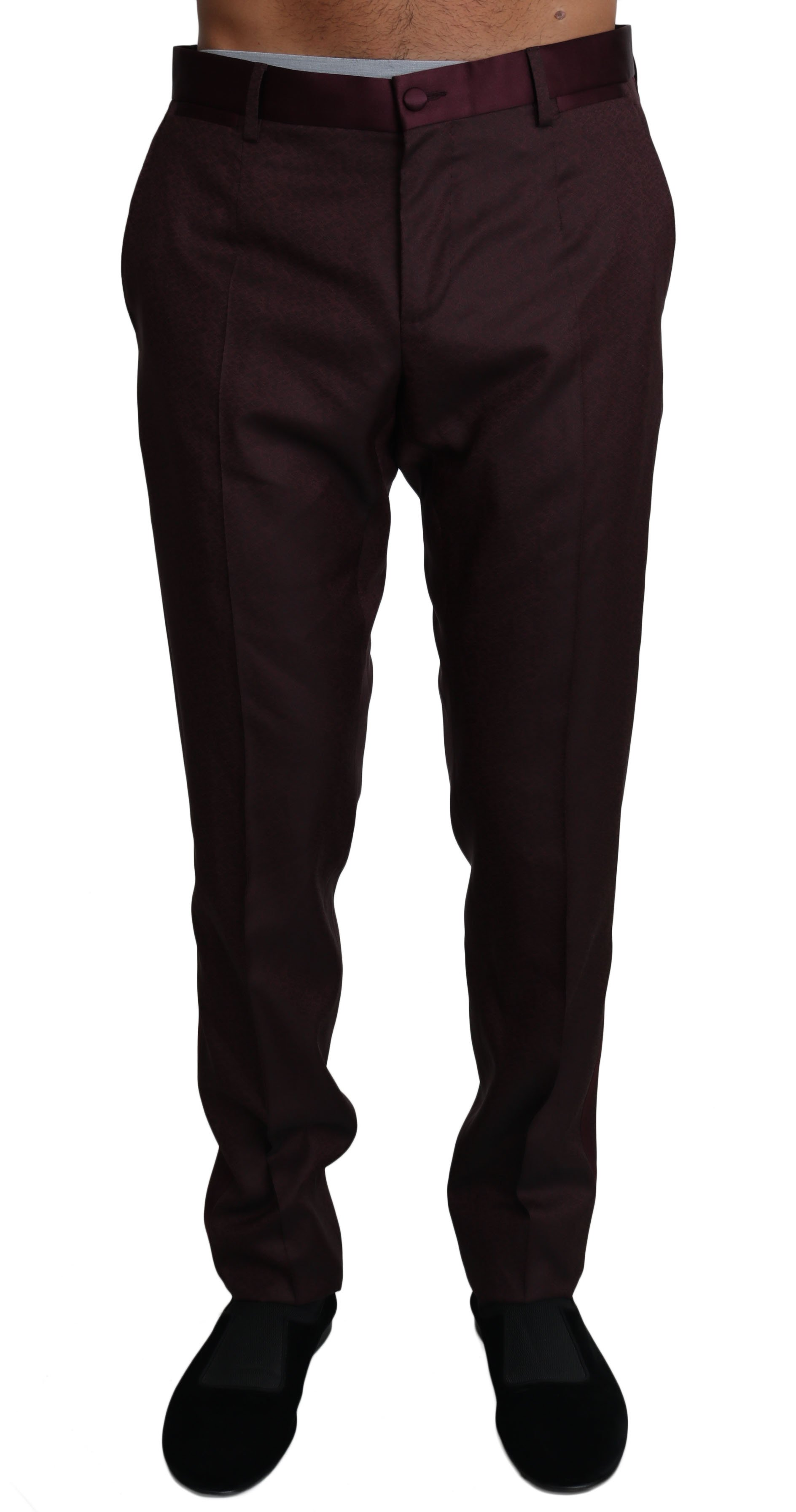 Dolce & Gabbana Men's Wool Pattern Stripe Trousers Bordeaux PAN61136 - IT52 | XL