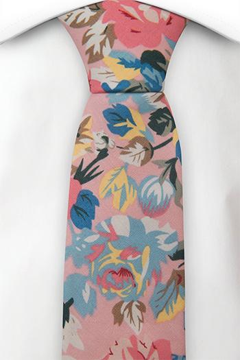 Bomull Smale Slips, Pastellrosa, gule & blå blomster på lyserosa, Rosa, Blomster