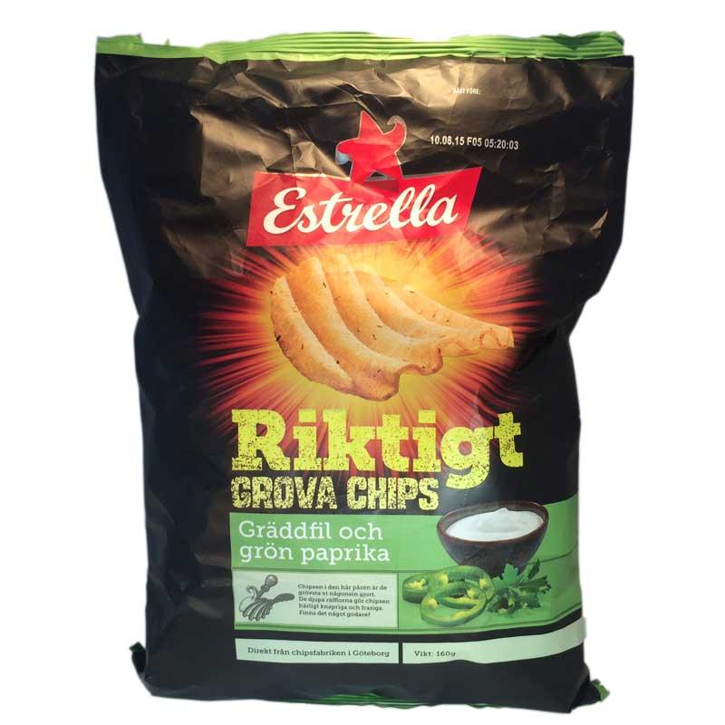 Riktigt grova chips Gräddfil & grönpaprika - 75% rabatt