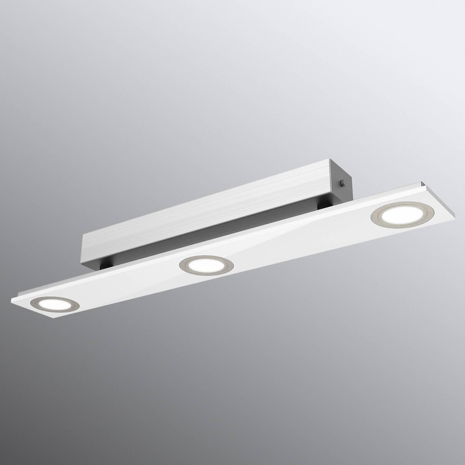 Kolmilamppuinen Panu-LED-kattovalaisin, valkoinen