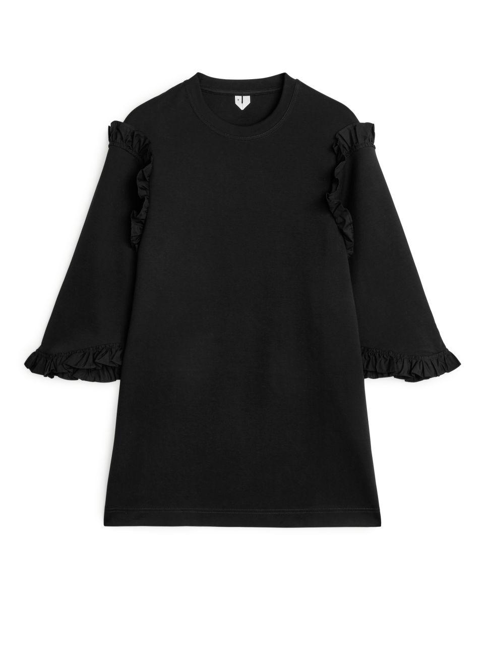 Oversized Frill T-Shirt - Black