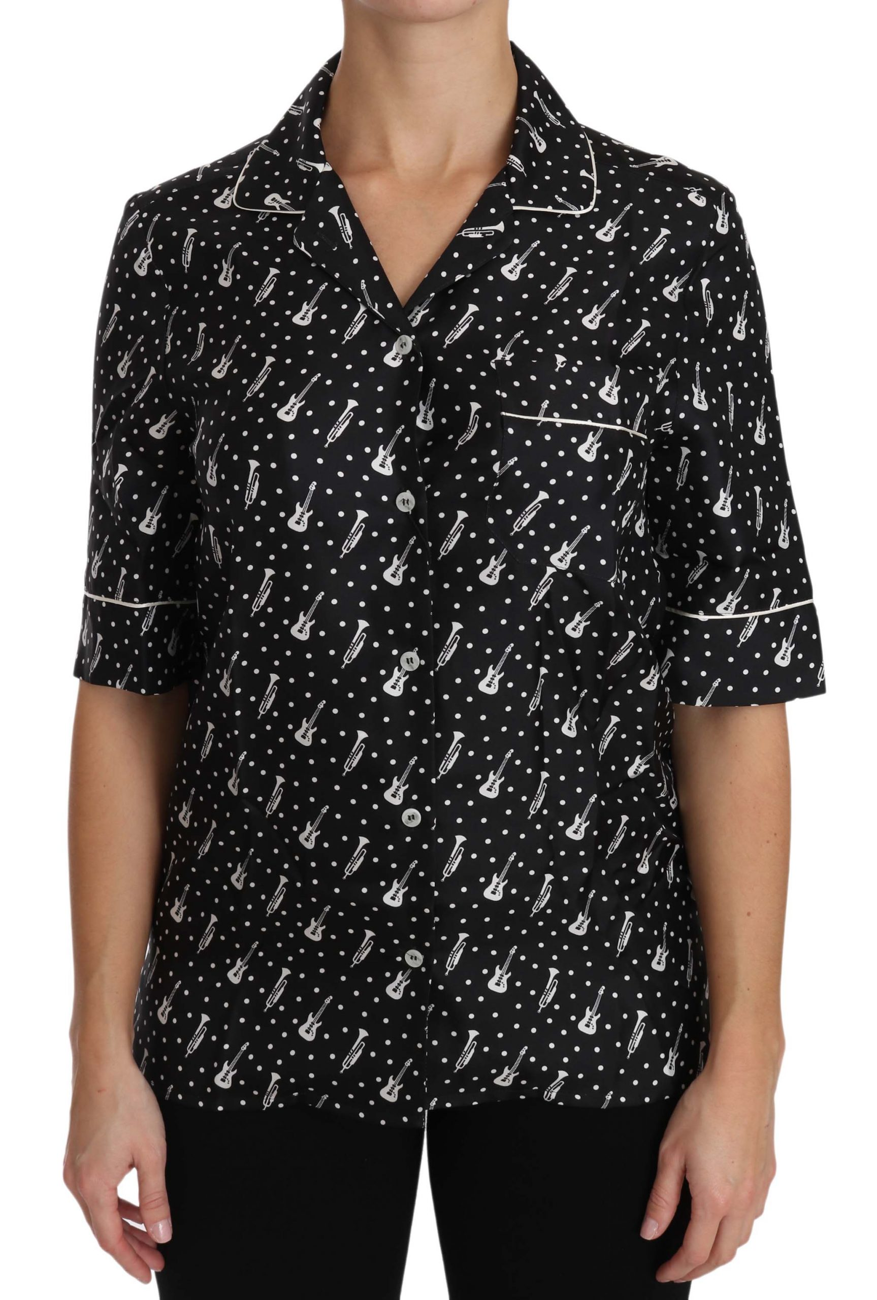 Dolce & Gabbana Women's Guitar & Trumpet Print Silk Shirt Black TSH3181 - IT42|M