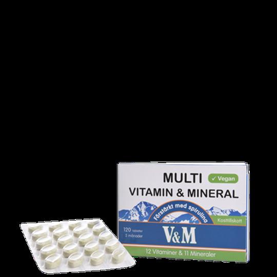 V&M Multivitamin & Mineral med Spirulina, 120 tabletter
