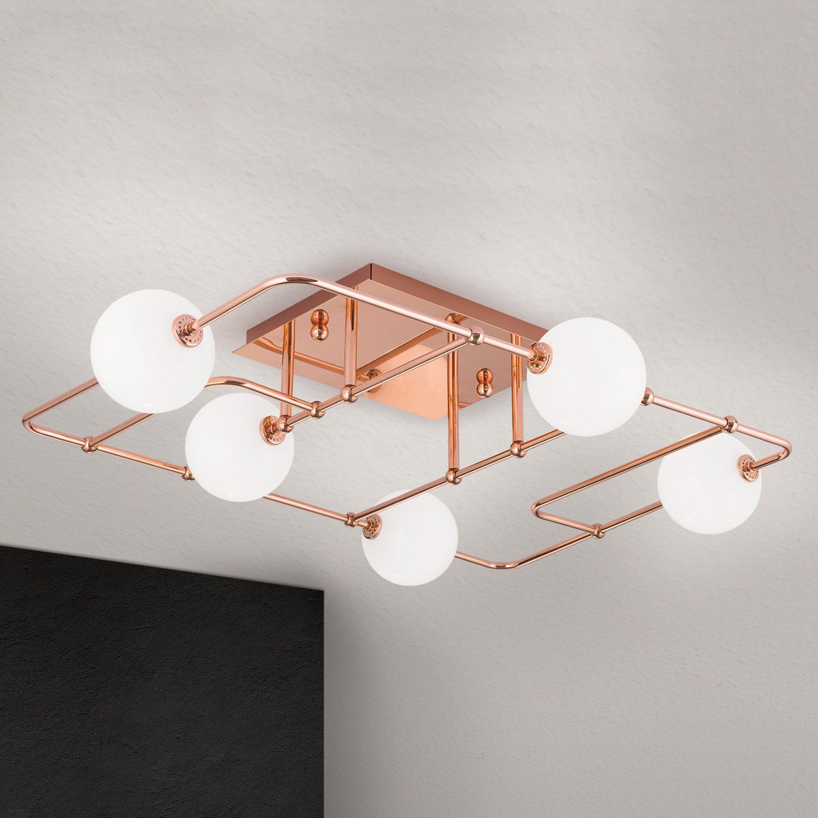 LED-taklampe Pipes i kobber med glasskuler